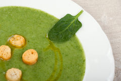 Spinach cream with croutons Royalty Free Stock Photography