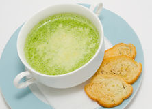 Spinach cream soup stock photo