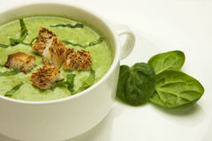 Spinach cream soup Stock Photos