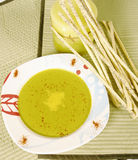 Spinach cream soup Royalty Free Stock Images