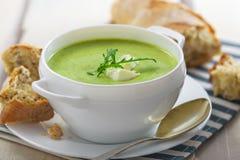 Spinach cream soup Stock Photos