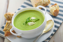 Spinach cream soup Stock Images