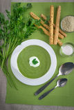 Spinach cream soup. With parsley and sour cream Stock Photo