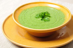 Spinach cream soup. Vegetable spinach cream soup on a table Royalty Free Stock Images