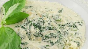 Spinach in a creamy sauce stock footage