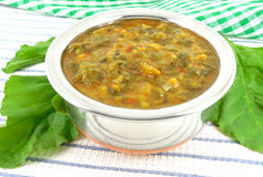 Spinach Curry. A healthy vegetarian side dish, made from spinach leaves, tomatoes and lentils Royalty Free Stock Photography