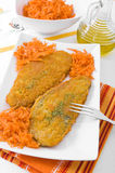 Spinach cutlet on white dish. Stock Photography