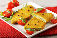 Spinach cutlets with tomato salad. On complex background Royalty Free Stock Photos