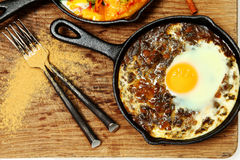 Spinach Dal and Egg Skillet Breakfast Stock Images