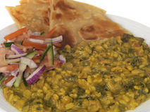 Spinach Dal with Salad Royalty Free Stock Photos