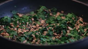 Cooking Spinach and Mushrooms stock footage