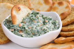 Free Spinach Dip & Crackers Stock Photography - 12629322