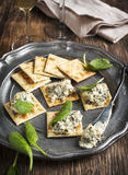 Spinach dip and crackers Royalty Free Stock Photo