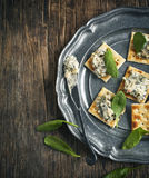 Spinach dip on crackers Stock Images