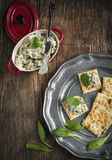 Spinach dip and crackers royalty free stock image