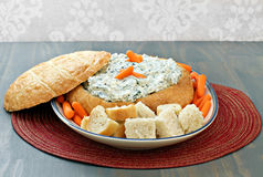 Spinach Dip in Round Loaf of Bread Royalty Free Stock Photo