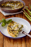Spinach e green asparagus frittata. Italian cuisine Stock Photo