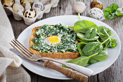 Spinach and egg sandwich Royalty Free Stock Photography