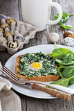 Spinach and egg sandwich Royalty Free Stock Images