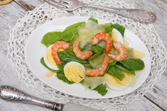 Spinach with eggs and shrimp Royalty Free Stock Image