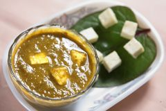 Spinach cheese side dish, Palak paneer, Pasalai Keeral paneer. Spinach is excellent source of more than 20 different measurable nutrients, including dietary stock photo