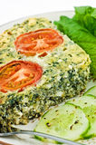 Spinach and feta cheese quiche Stock Photo