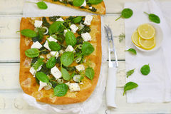Spinach and feta pizza Royalty Free Stock Photo