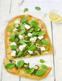 Spinach and feta pizza Stock Photos