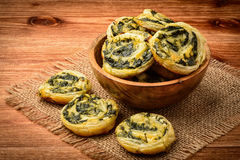 Spinach and feta  puffs . Close-up. Royalty Free Stock Image