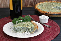 Spinach and feta quiche Stock Photography