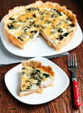 Spinach and feta quiche Stock Photos