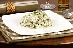 Spinach fettuccine alfredo Royalty Free Stock Photo