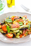 Spinach Fettuccine with bacon and dried chili Royalty Free Stock Photo