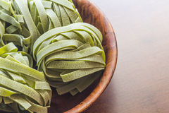 Spinach Fettuccine Nests Royalty Free Stock Photography