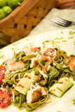 Spinach Fettucini with chicken and Vegetables Stock Image