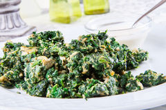 Spinach fried with egg Royalty Free Stock Photography