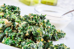 Spinach fried with egg Royalty Free Stock Photo