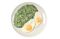 Spinach with fried eggs on a plate. White background Royalty Free Stock Photography