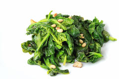 Spinach with garlic Stock Photo