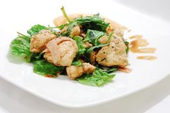 Spinach and grilled chicken salad. Healthy green spinach and grilled chicken salad with ham and soy sauce Stock Photos