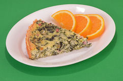 Spinach Ham Cheese Quiche Stock Image