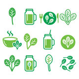 Spinach, healthy food - green smoothie icons set Royalty Free Stock Images