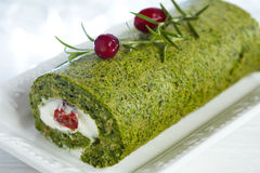 Spinach and herbs roll Stock Photo