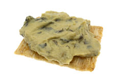 Spinach hommus on whole grain cracker Royalty Free Stock Photo