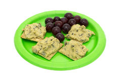 Spinach hommus on whole grain crackers with grapes Stock Photography