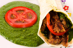 Spinach and kebab Royalty Free Stock Images