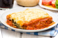Spinach lasagna baked on porcelain plate Stock Photos
