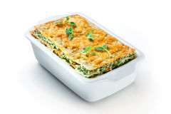 Spinach lasagna with basil. isolated. With clipping path Stock Photo