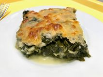 Spinach Lasagna / Lasagne with Bechamel Sauce Ready to Serve in Plate. Organic Food stock photos