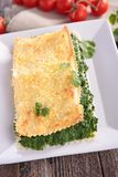 Spinach lasagne with cream Royalty Free Stock Photo